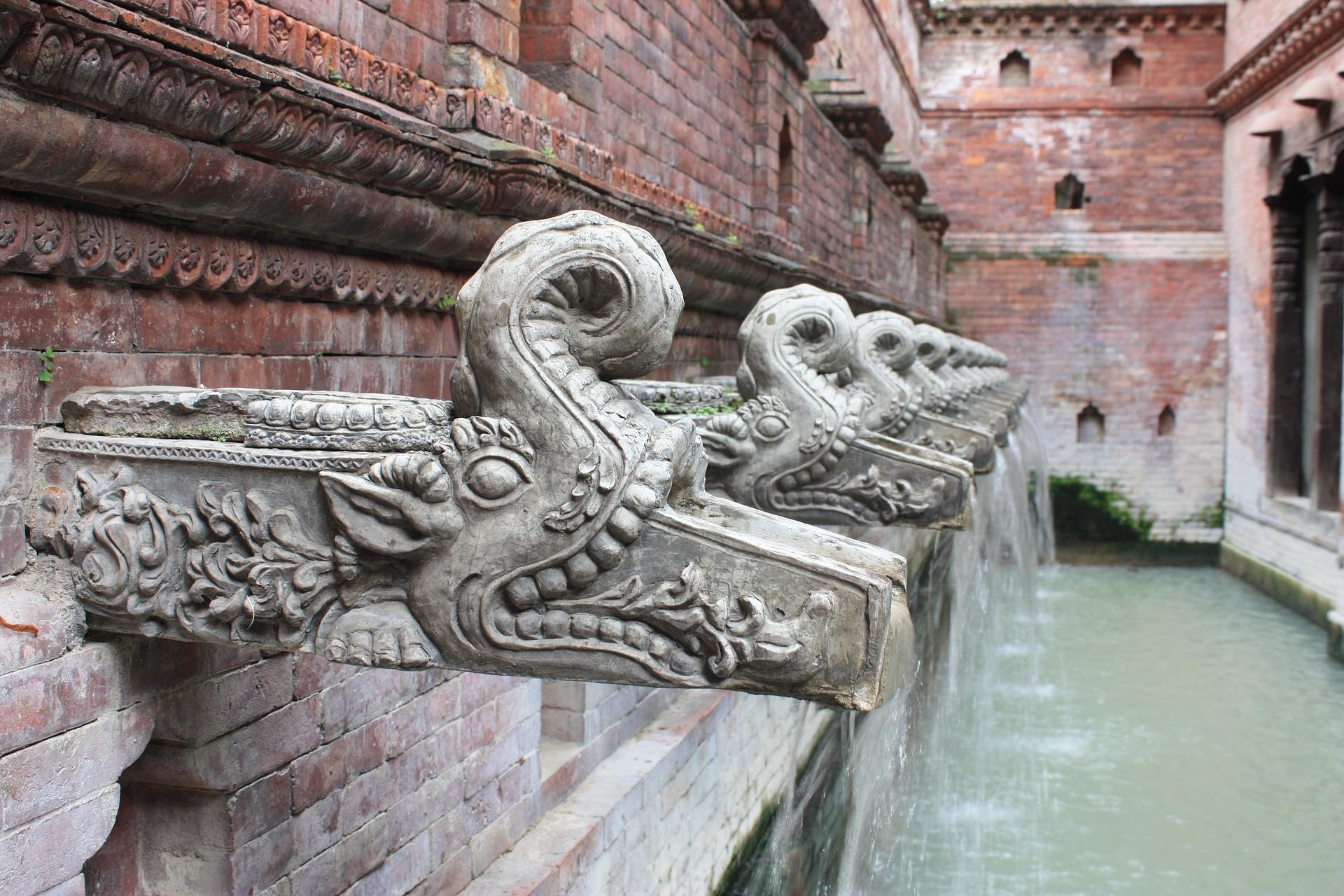 Une fontaine à Katmandou, au Népal.