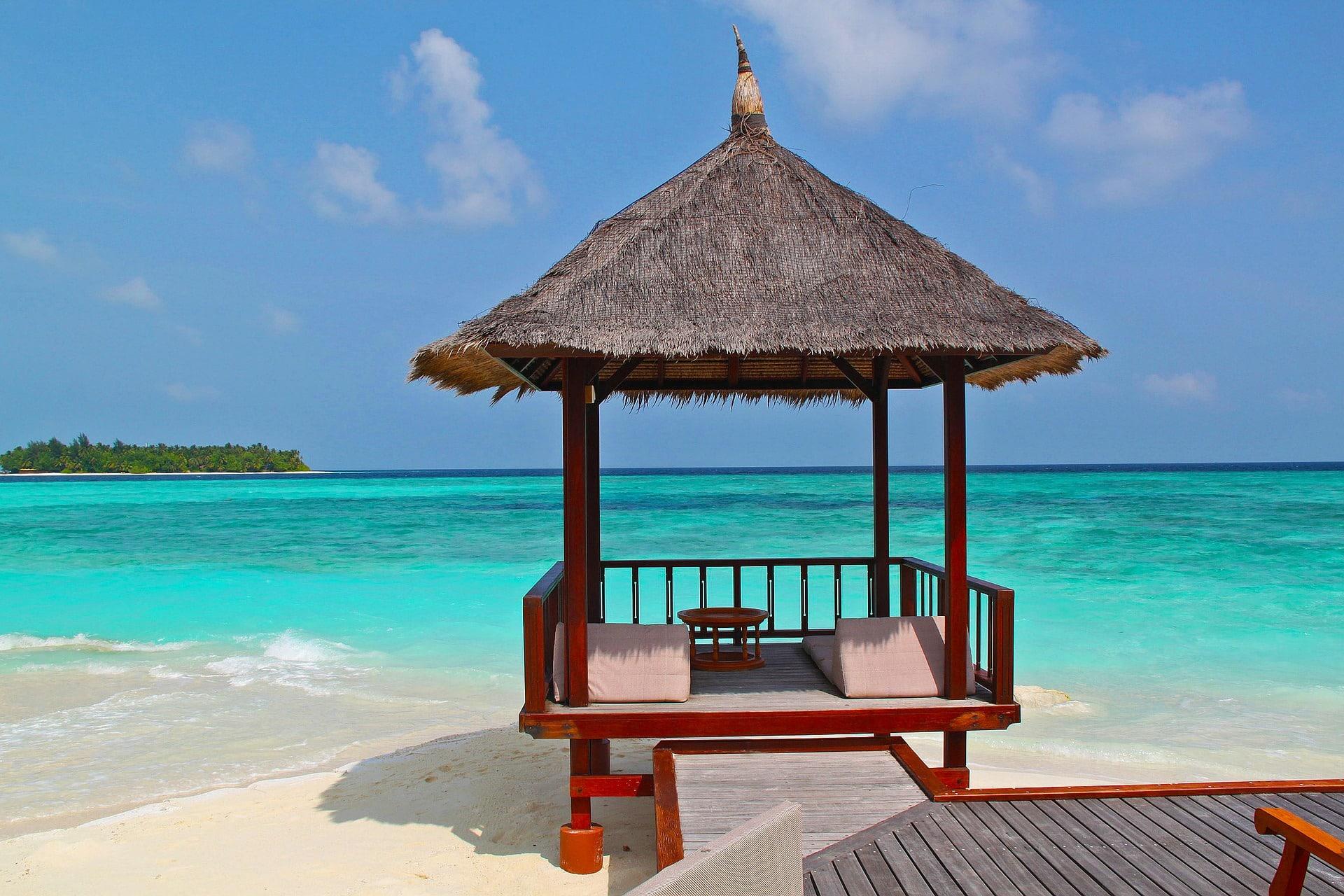 Un cabanon de plage aux Maldives.