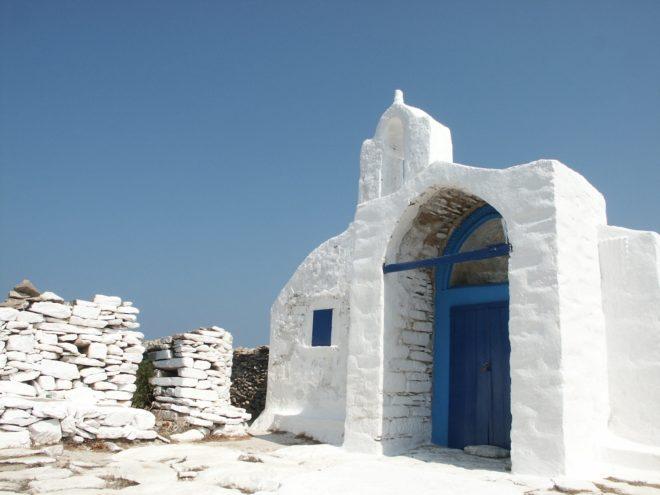 Maison sur l'île d'Amorgos, en Mer Egée (Grèce)